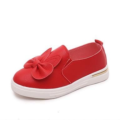 Para Meninas Sapatos Couro Ecológico Verão Conforto Mocassins e Slip-Ons Rasteiro Laço Para Casual Preto Amarelo Vermelho Rosa claro
