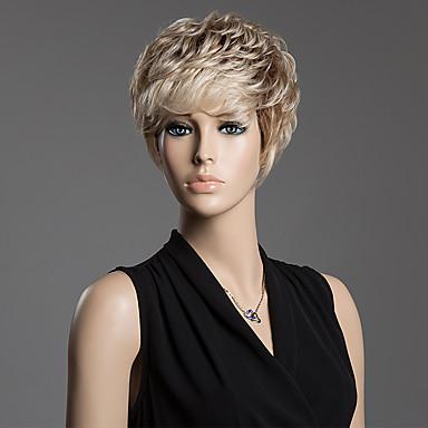 Mulher Perucas de cabelo capless do cabelo humano Médio Auburn / Bleach Loiro Loiro Morango/Loiro Claro Bege Loiro // Bleach Loiro