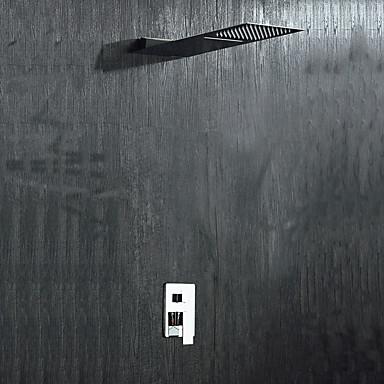 Moderne Duschsystem Wasserfall Regendusche Keramisches Ventil Ein Loch Zwei Griffe Ein Loch Chrom, Duscharmaturen