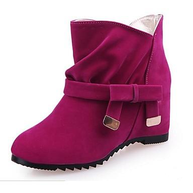 Damer Støvler Militærstøvler Fleece Efterår Vinter Militærstøvler Rosette Flad hæl Sort Rød Blå Mandel 2,5-4,5 cm