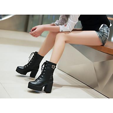 Mulheres Sapatos Courino Outono Coturnos Botas Salto Robusto Salto de bloco Cadarço para Casual Preto Amarelo Marron