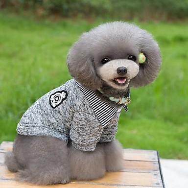 Kat Hond T-shirt Truien Hondenkleding Gestreept Donkerblauw Grijs Katoen Kostuum Voor huisdieren Heren Dames Houd Warm Modieus