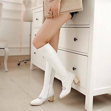 la Printemps Mode Fermeture à amp; Heel Bottes Décontracté Bottier pour Chaussures 05296729 Hiver Talon Automne Femme Bottes Soirée Block Cuir Verni wIFqwzf8