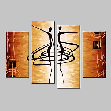 Peint à la main Abstrait Toute Forme Quatre Panneaux Toile Peinture à l'huile Hang-peint For Décoration d'intérieur