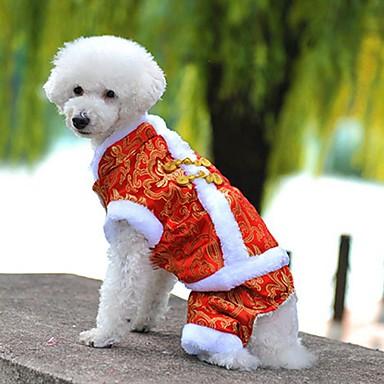Hund Frakker Kjeledresser Hundeklær Broderi Gul Rød Blå Polar Fleece Bomull Kostume For kjæledyr Herre Dame Ferie Mote Nyttår
