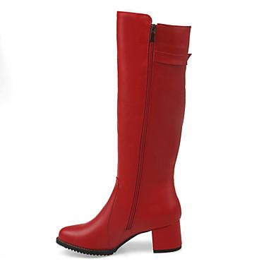 Støvler-Gummi-Modestøvler-Dame-Sort Rød Hvid Beige-Fritid Fest/aften-Tyk hæl