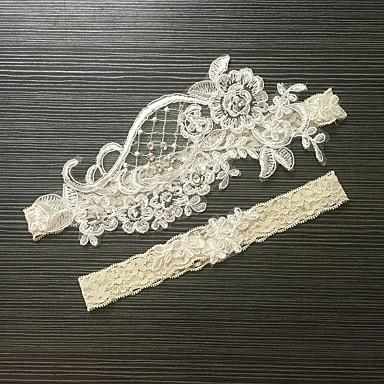 Blondelukning Stræksatin Klassisk Mode Bryllup Garter  -  Imitationsperler Blomst Strømpebånd