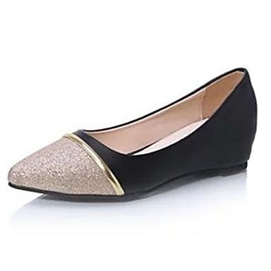 Mulheres Sapatos Couro Ecológico Verão Saltos Salto Plataforma Lantejoulas Branco / Preto / Prata / Calcanhares