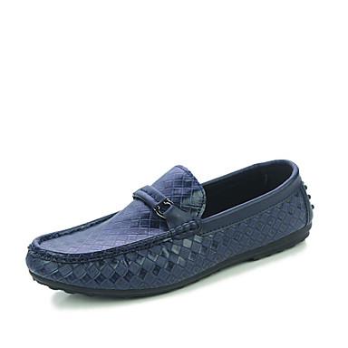 Herrn Schuhe Kunstleder Frühling Herbst Mokassin Komfort Loafers & Slip-Ons Walking für Normal Draussen Weiß Schwarz Blau