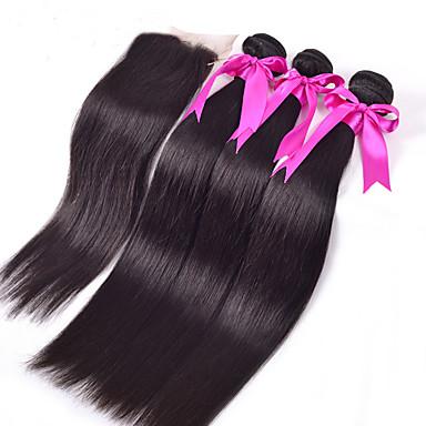 Maleisisch haar Haar Weft met Sluiting Recht  Haarextensions 4-delig Zwart