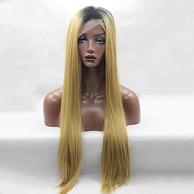 Perucas sintéticas Liso Mulheres Frente de Malha Peruca Natural Longo Cabelo Sintético