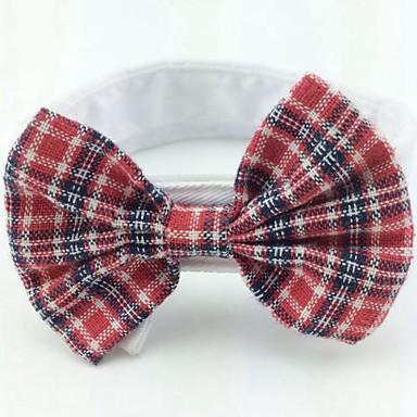 Katze Hund Weihnachten Krawatte/Fliege Hundekleidung Schleife Rose Rot Schwarz/Rot Schwarz/Weiß Rot/Weiß Baumwolle Kostüm Für Haustiere