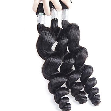 3 Bundler Brasiliansk hår Løst, bølget hår Jomfruhår Menneskehår, Bølget Menneskehår Vævninger Menneskehår Extensions