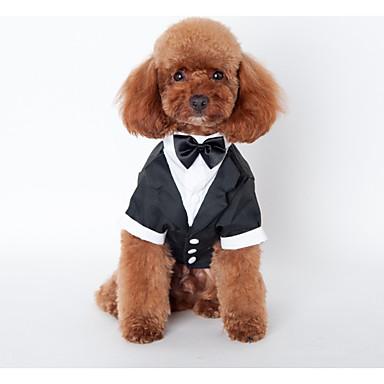 Cachorro Roupa Roupas para Cães Formais Preto Algodão Ocasiões Especiais Para animais de estimação Homens Casamento
