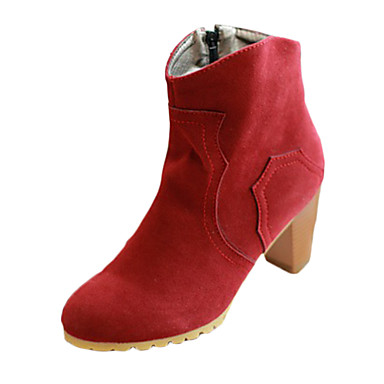 Damer Støvler Komfort PU Vinter Afslappet Komfort Kæde Lav hæl Beige Brun Grøn Kamel Bourgogne Under 2,5 cm