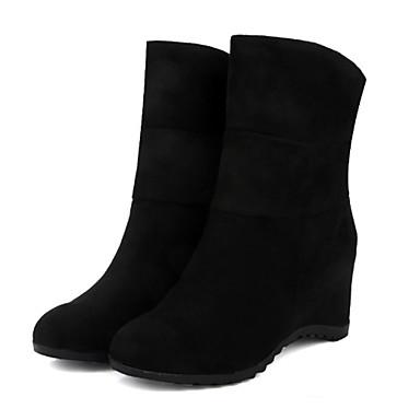 Støvler-Kunstlæder-Kampstøvler Modestøvler-Dame-Sort Rød Grå-Kontor Fritid-Kilehæl