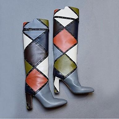 Mulheres Sapatos Couro Ecológico Outono / Inverno Botas da Moda Botas Salto Robusto Tachas / Presilha / Combinação Cinzento