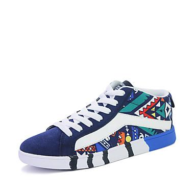 Sneakers-Ruskind-Komfort-Herre-Sort Blå Grå-Udendørs Fritid Sport-Lav hæl