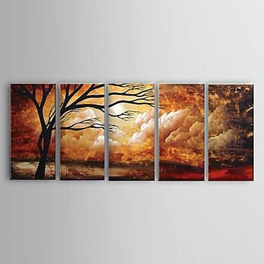 Hang-Painted Oliemaleri Hånd malede - Abstrakt / Sille Liv / Blomstret / Botanisk Klassisk / Parfumeret / Moderne Lærred / Fem Paneler