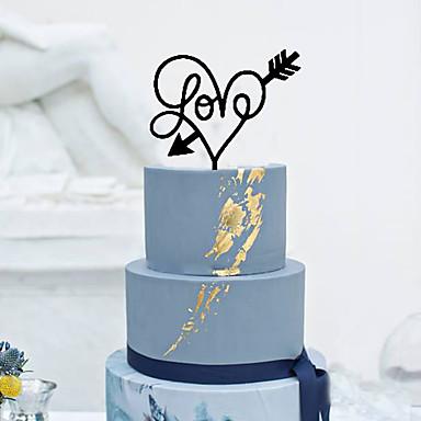 Decorações de Bolo Tema Clássico Corações Acrílico Casamento com Flor 1pcs Caixa de Ofertas