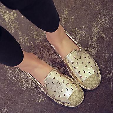 Dames Schoenen Kunstleer Herfst Comfortabel Loafers & Slip-Ons Platte hak Voor Causaal Zilver Gouden