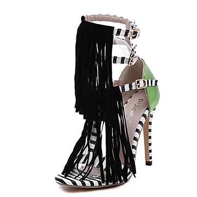 Damer Sandaler PU Sommer Afslappet Kvast Stilethæl Sort 9,5-12 cm