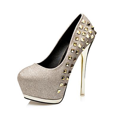 Feminino Sapatos Courino Inverno Saltos Caminhada Salto Agulha Tachas Para Social Preto Prata Dourado