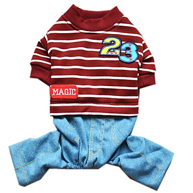 Cat Dog Jumpsuit Dog Clothes Cute Casual/Daily Stripe Dark Blue Gray Red Costume For Pets