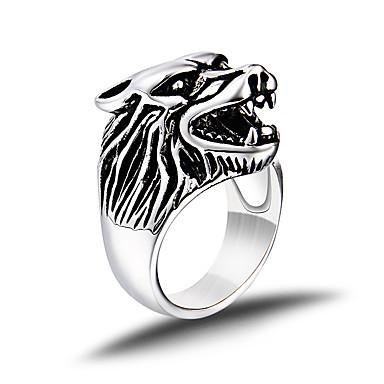 Heren Bandring / Statement Ring - Titanium Staal Dier, Wolf Statement, Gepersonaliseerde, Vintage 8 / 9 / 10 Zilver Voor Bruiloft / Feest / Dagelijks