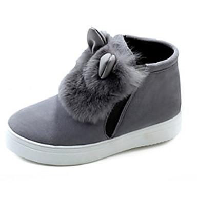Støvler-Kunstlæder-Komfort Snowboots-Dame-Sort Grå Mat Sort-Udendørs Fritid-Flad hæl