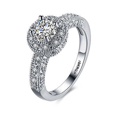 Dame Bedårende Luksus / Bohemsk / Hypoallergenisk Sølv / Zirkonium / Kubisk Zirkonium Statement Ring / Band Ring - Sirkelformet /