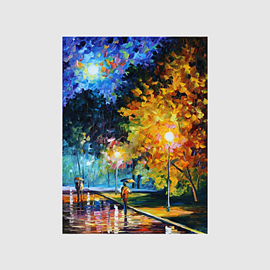 Pintados à mão Paisagem / Pessoas / Floral/Botânico Pinturas a óleo,Modern 1 Painel Tela Hang-painted pintura a óleo For Decoração para