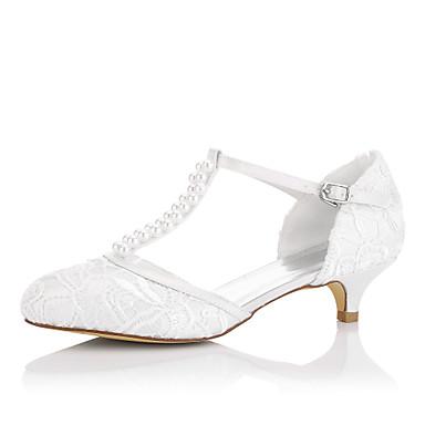 Mujer Zapatos Seda Primavera / Verano Tacones Tacón Bajo Perla Marfil / Boda / Fiesta y Noche