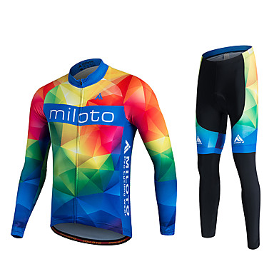 Miloto Calça com Camisa para Ciclismo Homens Mulheres Unisexo Manga Longa Moto Camisa/Roupas Para Esporte Meia-calça Calças Moletom