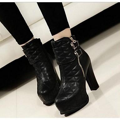 Feminino Sapatos Couro Ecológico Outono Inverno Coturnos Botas Salto Grosso Salto de bloco Presilha Ziper Para Preto Bege