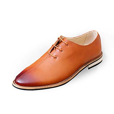 Hombre Zapatos formales PU Primavera / Otoño Negocios / Confort Oxfords Antideslizante Gris / Marrón / Rojo / Zapatos De Vestir