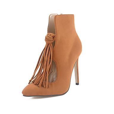 Dames Schoenen Fleece Herfst Winter Enkellaarsjes Modieuze laarzen Club Schoenen Oplichtende schoenen Laarzen Stilettohak Met Kwastje Voor