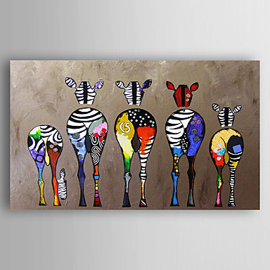 cheap Home & Garden-Hand-Painted Canvas Animal Oil Painting Five Colorful Zebra Modern Art Stretched Ready To Hang