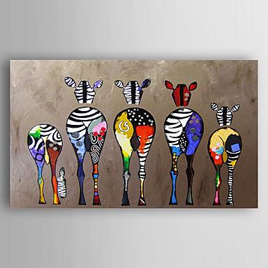 voordelige Olieverfschilderijen-met de hand beschilderd canvas dier olieverfschilderij vijf kleurrijke zebra moderne kunst uitgerekt klaar om op te hangen