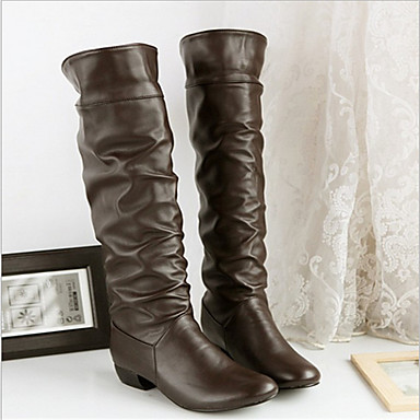 Feminino Sapatos Couro Ecológico Outono Botas Salto Baixo Para Casual Branco Preto Marron