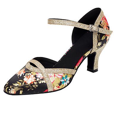 Mujer Zapatos de Baile Latino / Zapatos de Baile Moderno Lentejuelas / Satén Sandalia / Tacones Alto Purpurina / Hebilla / Flor Tacón