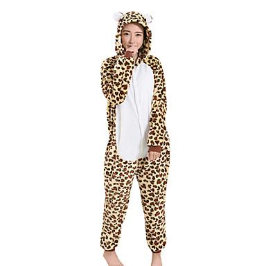 Adulto Pijamas Kigurumi Leopard Bear Pijamas de una pieza Lana Polar Marrón Cosplay por Hombre y mujer Ropa de Noche de los Animales Dibujos animados Víspera de Todos los Santos Festival / Celebración