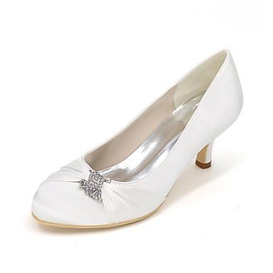 Damen Schuhe Seide Frühling / Sommer High Heels Stöckelabsatz Rüschen Blau / Champagner / Elfenbein / Hochzeit / Party & Festivität