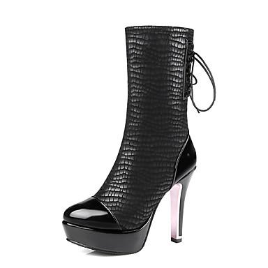 Damen Schuhe Kunstleder Winter Herbst Modische Stiefel Stiefel Stöckelabsatz Plattform Runde Zehe Schnürsenkel für Normal Büro & Karriere