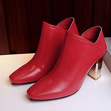 Mulheres Sapatos Couro Outono Botas Salto Robusto para Casual Preto Vermelho Verde