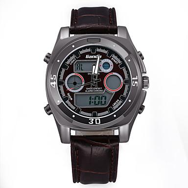 Hombre Reloj Militar Despertador / Calendario / Noctilucente Piel Banda Encanto Negro / Acero Inoxidable