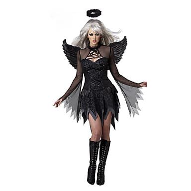 Fallen engel Cosplay Kostumer Party-kostyme Dame Halloween Festival / høytid Halloween-kostymer Svart Lapper
