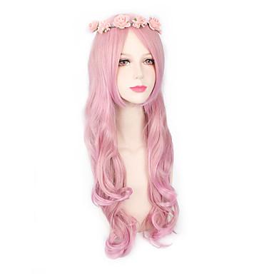 Pelucas sintéticas Mujer Ondulado Grande Rosa Pelo sintético Rosa Peluca Larga Sin Tapa Rosa