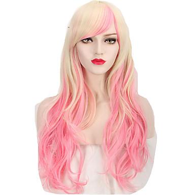 Pelucas sintéticas / Pelucas de Broma Ondulado Rosa Pelo sintético Rosa Peluca Mujer Larga