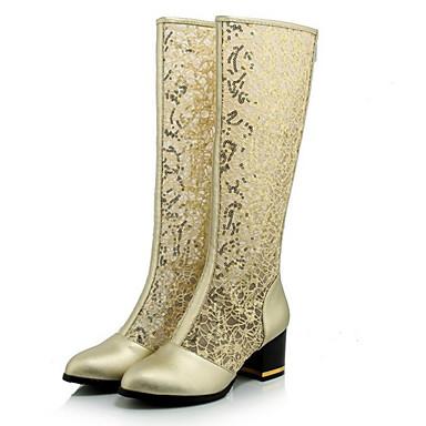 Støvler-PU-Modestøvler-Dame-Sort Hvid Guld-Fritid-Tyk hæl